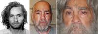FILE --  From left: Charles Manson in 1969, 2009 and in an image released in April, 2012.