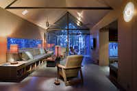 The living room inside the House at Wind Point designed by Max Levy