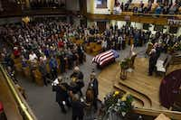 Musicians of the East of Westrerville band play at the end of a prayer service for former Democratic U.S. senator and three-time presidential candidate George McGovern at the First United Methodist Church in Sioux Falls, S.D., Thursday, Oct. 25, 2012. McGovern died Sunday in his native South Dakota at age 90. (AP Photo/Nati Harnik)Nati Harnik