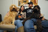 Owners Jenny & Brad Perkinson enjoy one of their brews with their dogs Penny & Barley at FireWheel Brewing Company.
