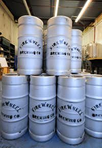 FireWheel Brewing companies kegs waiting to be filled.