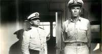 """Henry Fonda starred with James Cagney (left) in """"Mister Roberts."""""""