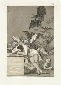 Francisco de Goya y Lucientes (Spanish, 1746-1828). Los Caprichos. The Sleep of Reason Produces Monsters. Plate No. 43. 1797-98, etching and burnished aquatint, Meadows Museum, SMU, Dallas. Algur H. Meadows Collection.Michael Bodycomb