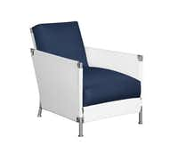 Mariner Lounge Chair by John Hutton, stainless-steel frame with removable covers and cushions of Perennials Nailhead solution-dyed acrylic fabric in Blanca, to the trade, David Sutherland, 214-742-6501, sutherlandfurniture.com