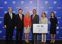 (L to R) Mark A. Roglán, Director of the Meadows Museum; R. Gerald Turner, President of Southern Methodist University; Linda Perryman Evans, President & CEO of The Meadows Foundation; José Bowen, Dean of the Meadows School of the Arts, SMU; Linda P. Custard, Chair of the Meadows Museum Advisory Council; Stacey McCord, Chair of the 50th Anniversary Steering Committee, Meadows Museum Advisory Council; at the 50th Anniversary Announcement Party, April 7, 2014.Tamytha Cameron