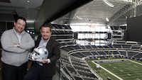Rodrigo Bezanilla Alvarez (left), director general of Yellow Entertainment, and Mauricio Vargas, president and CEO of Grupo Amarillo, bring wealthy Mexicans to Dallas Cowboys games at Cowboys Stadium in Arlington. They started their business in 2010,  purchasing six seats, and now they own a suite that seats 26 people. They also rent suites when they have more clients who want to enjoy the special high-class experience.