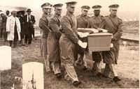 Cleo Hearn (second from right), carries a casket during a military burial in 1962. Hearn was one of the first African-Americans to serve in the Presidential Honor Guard under John F. Kennedy's administration.Photo submitted by Cleo Hearn
