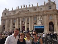 University of Dallas students (from left) Colin MacNamara, Olivia Close, Monica King and Madeline Pelletier visited St. Peter's Basilica in Vatican City in Rome during a trip in October.Photo submitted by ALEX TAYLOR