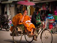 Monks enjoy a pedicab in Nyaungshwe, Myanmar.Jonathan Look Jr.  -  Special Contribtuor