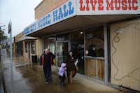 Charles Crenshaw, his wife Denise and their granddaughter Dalana Crenshaw, members of The Gathering, a Mesquite-based church, exit the historic Rodeo City Music Hall after a service held there in Mesquite. The church recently purchased the historic venue, selling their current propertyRose Baca
