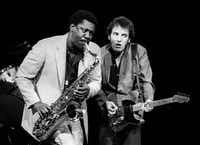 Bruce Springsteen (right) and Clarence Clemmons in concert at the Frank Erwin Center during The River tour in Austin, Texas November 9, 1980.