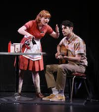 "Kristin Stokes, as Miriam,  and Damon Daunno, as Harold McClam at a dress rehearsal for the Dallas Theater Center musical ""Fly By Night"" at Kalita Humphreys Theater."