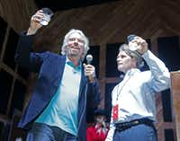 Sir Richard Branson and Virgin America CEO David Cush led a tequila toast during Monday's party at The Rustic.Michael Ainsworth - Staff Photographer