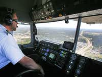 Pilot Corky Belanger, who grew up in Mesquite, was glad to be back over Dallas.