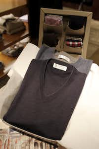 A Brunello Cucinelli cashmere V-neck sweater was selling for $645, and a sweat shirt for $1,275 at the Neiman Marcus NorthPark last week.