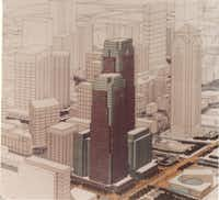 The 1984 plan for the Lone Star Plaza project in Dallas Arts District.