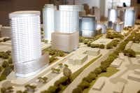 Gabriel Barbier-Mueller's model of Uptown work traces the seven buildings completed and those in the works.