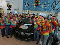 "The sales staff at Lewisville Volkswagen dresses in tie-dyed T-shirts and blue jeans. ""We have a fun environment,"" says general manager Alan Brown."