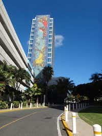 Art pops up on San  Juan buildings, such as this one on the east end of Old San Juan, the city's historic district.