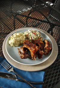 Ribs with Cole Slaw and Potato Salad.Evans Caglage