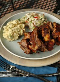 What's better than ribs cooked on the grill, served with cole slaw and potato salad?Evans Caglage