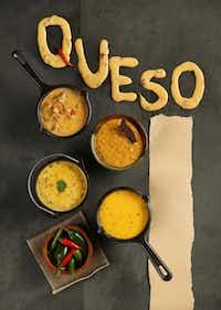 Clockwise, from top left: Faith's Dip, Matt's Chile Con Queso, Mi Tierra's Chile Con Queso, and Homesick Texan Chile Con Queso.