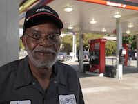 Lee Jennings has worked at the Dunlap-Swain full service gas station at Cole Ave. and Monticello in Dallas for over forty years. He came back from a short retirement in 2009 because of customer demand for his return. Image captured September 3, 2013.