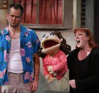 Chester Maple, as Brian, left, and Megan Kelly Bates, as Kate Monster perform the opening number of Avenue Q on January 11, 2014 at Stage West Theatre in Fort WorthSarah Hoffman - Staff Photographer