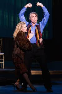 """Danielle Estes  embraces Christopher Carl in a duet during Lyric Stage's presentation of """"Pleasures and Palaces."""""""