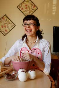 Alexis Clare, 28, makes a batch of Romance Rose Petal bath bombs to fulfill Valentine's Day orders for her online business, Whipped Up Wonderful.
