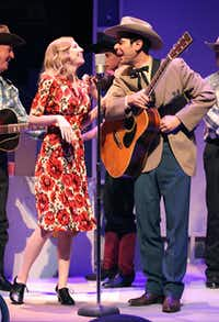 """Mikaela Krantz as Audrey Williams (left) and Joey Folsom as Hank Williams in """"Hank Williams: Lost Highway"""" presented at the WaterTower Theater."""