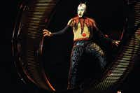 """The Wheel of Death performance on the opening night of Cirque du Soleil's """"Kooza"""" on Wednesday, Sept.  19, 2012 in Dallas."""