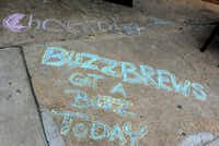 Buzz Brews' Deep Ellum location was one of four chalk spots for Chalk-tober Fest in Dallas on Sunday, Oct. 21, 2012.Alexandra Olivia