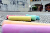 Event organizers supplied chalk for participants in Chalk-tober Fest on Sunday in Dallas.Alexandra Olivia