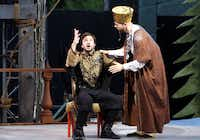 Seth Magill and Christopher Curtis perform in Shakespeare Dallas' production of Perciles at Samuel-Grand Amphitheatre in Dallas, Texas, Saturday, June 22, 2013.