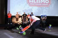 James Wallace, Simon Pegg, Nick Frost, and Edgar Wright watch as a zombie contestant tries to break a pinata to win Alamo Drafthouse tickets.Alexandra Olivia - Special Contributor