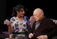 Sasha Peshwani (left), and Howard Korn are pictured during a Theatre Britain production of 'Albert's Anthology', Friday, June 28, 2013, at Cox Building Playhouse in Plano.