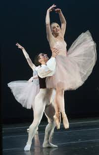 """SMU dancers Alex Druzbanski and Aubry Neal perform the dance """"Valse Fantaisie"""" as part of Meadows at the Winspear on Wednesday."""