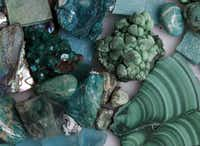 A variety of the types of mosaic pieces, including malachite, botryoidal malachite, chrysocolla and atacamite, used in Depthfinder, a mosaic, by artist Sonia King, that was recently accepted into the Museo d'Arte di Ravenna's permanent collection of contemporary mosaics in Ravenna, Italy. Photographed at King's home studio in Dallas on May 8, 2013.