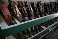Lynn Dowd's collection of hand planers at Dowd's Vintage and Antique Tools in Garland September 12, 2012.