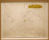 """""""earth artist"""" Robert Smithson's pencil and crayon drawing of Island of Sulfur (Dollar Bay) at the Dallas Museum of Art, Thursday, January 16, 2013."""