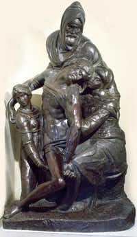 "A bronze casting after Michelangelo's Florentine ""Pieta,"" on display at the Museum of Biblical Arts in Dallas"