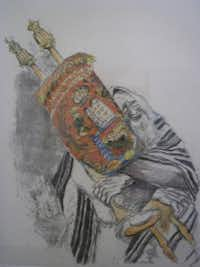 """The Torah,"" etching and watercolor, Ira Moskowitz, on display at the Museum of Biblical Arts in Dallas"
