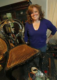 Louise Herriott does caning and makes handwoven rush seats for chairs at her home in Dallas on Tuesday, August 21, 2012.