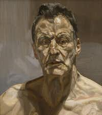 """""""Reflection (Self-portrait),"""" 1985, by Lucian Freud, private Collection, Ireland, part of the exhibit """"Lucian Freud: Portraits,"""" July 1-Oct. 28, 2012, at the Modern Art Museum of Fort Worth."""