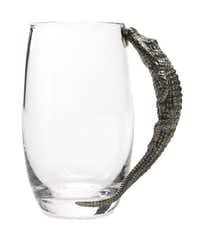 Alligator influence: Inspired by American alligators basking in the sun, the cast pewter handle of this curved glass beer mug shows the wild side of the man of the house. 6-inches tall. $58 at St. Michaela's Woman's Exchange.