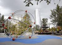 Children's play area at Klyde Warren Park in Dallas, TX on October 22, 2012.