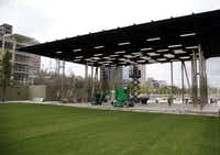 Performance stage at Klyde Warren Park in Dallas, TX on October 22, 2012.