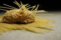 Canton dried noodle, center, and Capellini pasta noodle, top and bottom, for the ingredient of homemade Japanese ramen.