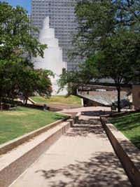 The Chapel of Thanks-Giving and a serene park comprise Thanks-Giving Square in downtown Dallas.